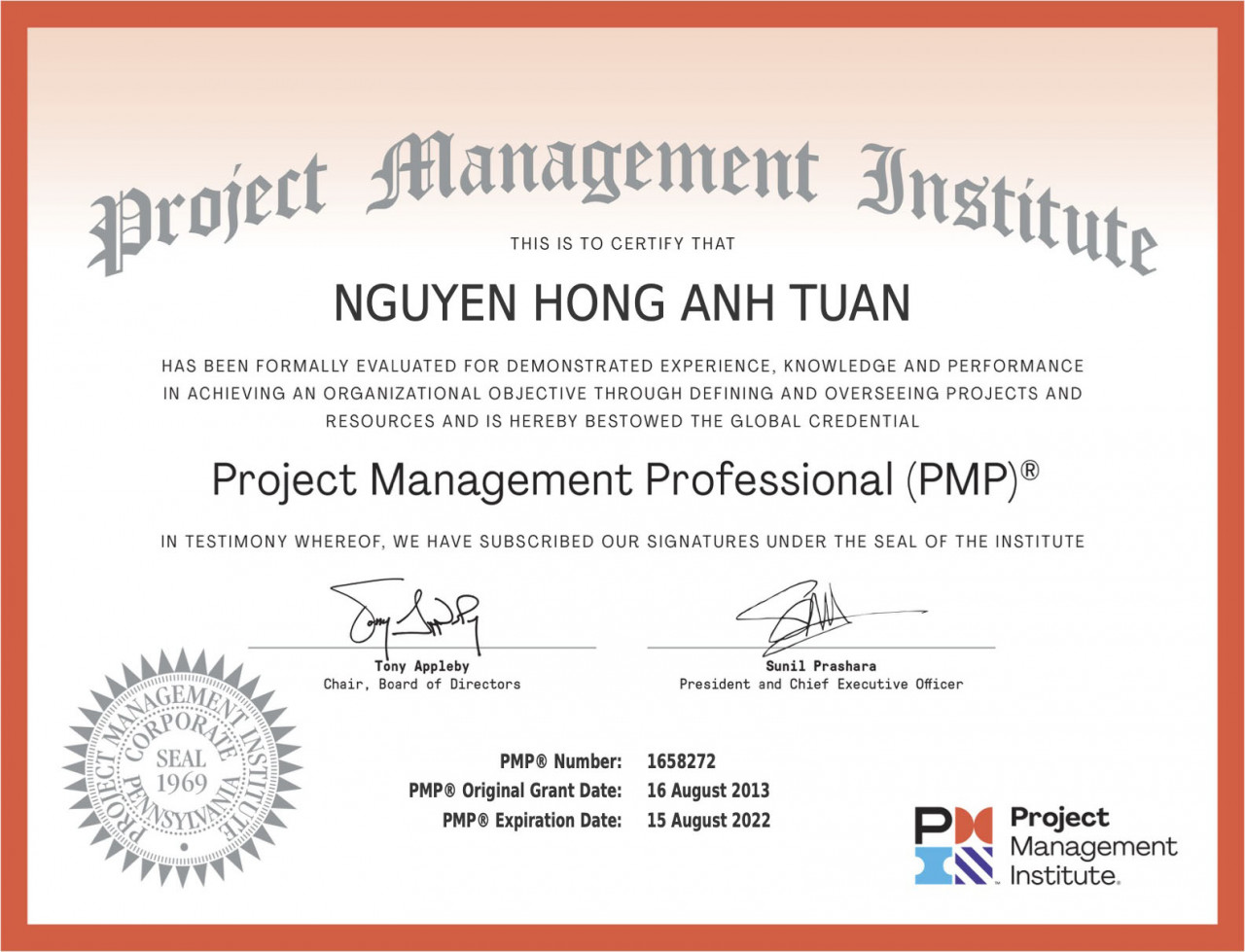 Nguyen Hong Anh Tuan Project Management Body of Knowledge Certificate