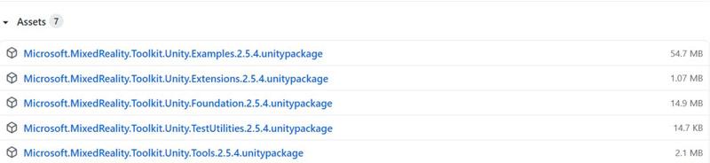 下記のURLを開いてMicrosoftのMRTKライブラリを全部ダウンロードする