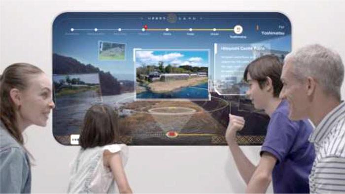 列車の窓に観光情報を表示するサービス提供イメージ