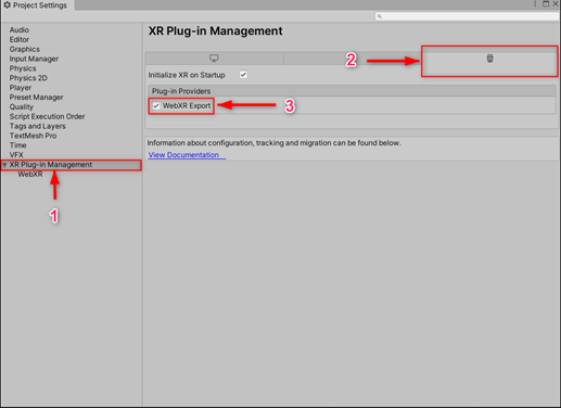XR Plug-in Management (1) -> WebGL (2) -> Check WebXR Export (3)