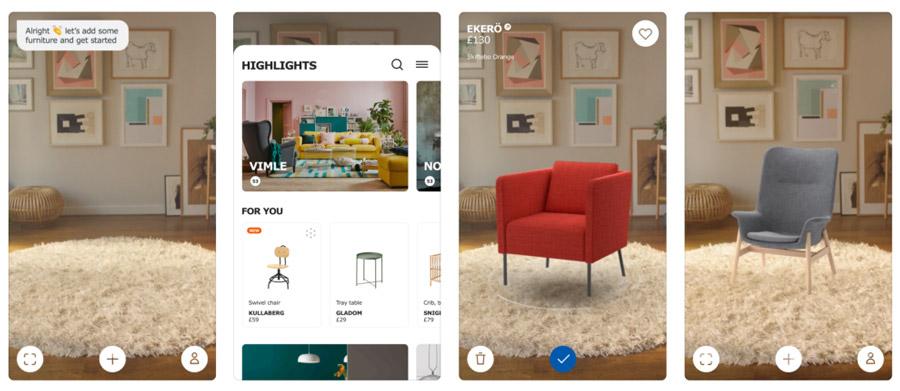 IKEA(イケア)では、2017年よりARを用いたシミュレーションアプリ、「IKEA Place」を公開しています。