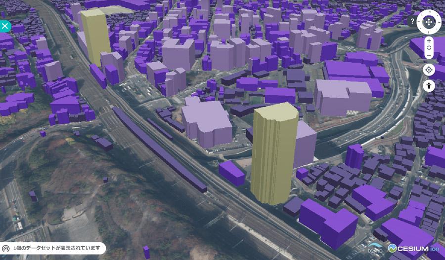下記の画像は、建物を高さ別に色分けしたシーンになります。